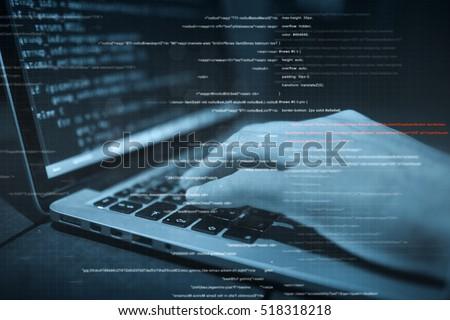 hacker hands at work with  interface around