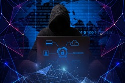 hacker in a jacket with a hood with a laptop sits at the table. Added identity theft icons, account hijacking, bank data theft and world map. Hacking. Data. Bug bounty.