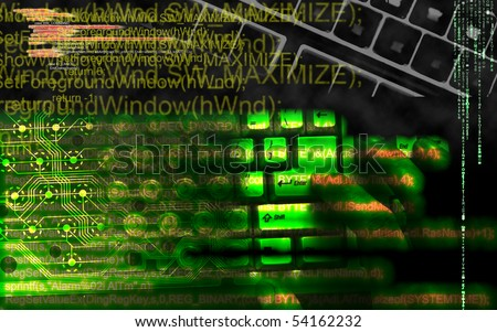 Hacker in cyberspace. Your system under attack - stock photo