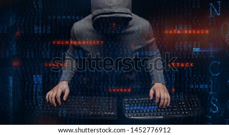 Anonymous hacker - programmer with… Stock Photo 289928387