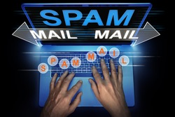hacker is using his computer for spreading spam mails