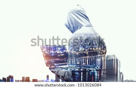 Hacker man steal information Stok fotoğraf ©