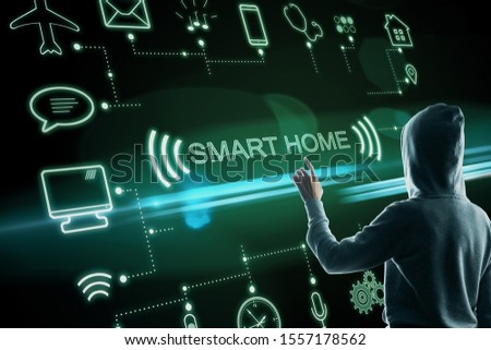 Hacker push concept of smart home technology system with centralized control. 3D Rendering
