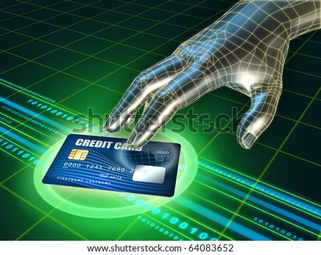 Hacker's hand trying to steal a credit card. Digital illustration.