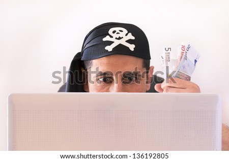 hacker watching and stealing virtual money in euros on white background
