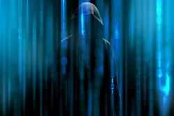 Hacker with a hood and blue binary code matrix. Hacking the confidential secret data.