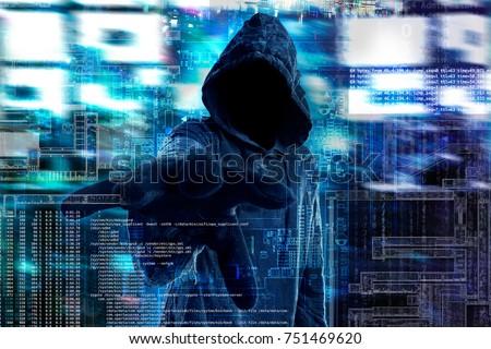 Hacker with dark face. Digital interface on background.( digital glitch effect)
