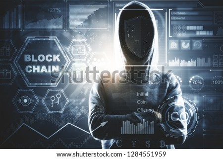 Hacker with digital business interface. Hacking and interface concept. Double exposure  #1284551959