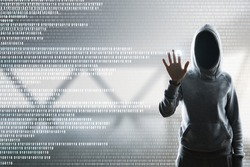 Hacker with digital business interface on blurry interior background. Hacking and password concept. Double exposure