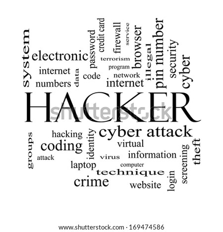 Hacker Word Cloud Concept in black and white with great terms such as firewall, cyber, attack, crime and more.