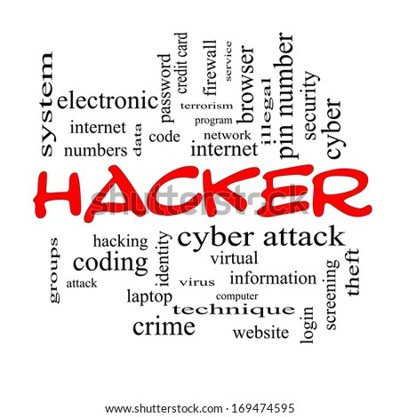 Hacker Word Cloud Concept in red caps with great terms such as firewall, cyber, attack, crime and more.