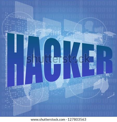 hacker word on digital screen. Computer security concept, raster