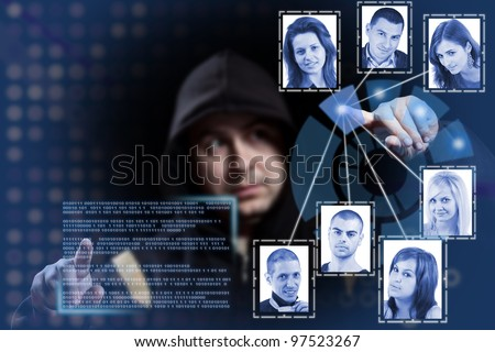 hacker working on modern technology - stock photo