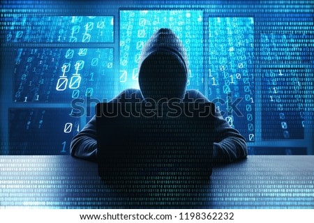 Hacking and malware concept. Hacker using abstract laptop with binary code digital interface. Double exposure