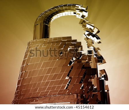 Hacking bypass compromised security with broken lock concept illustration