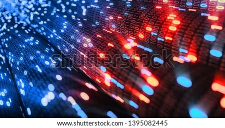 Hacking red and blue digital binary code matrix 01 background. Hacker, dark web, matrix, Digital data code in safety security technology concept. 3D rendering