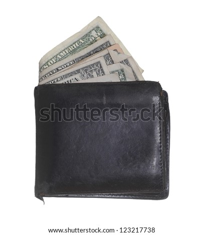hackneyed purse with dollars - stock photo
