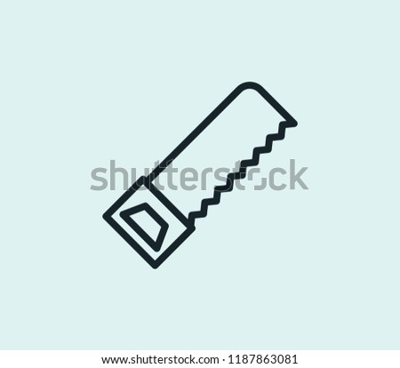 Hacksaw icon line isolated on clean background. Hacksaw icon concept drawing icon line in modern style.  illustration for your web mobile logo app UI design.