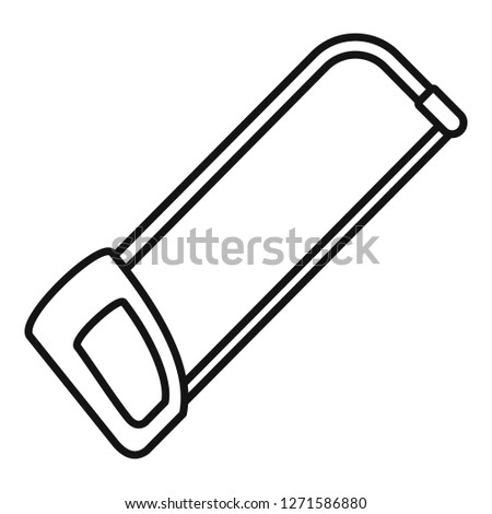 Hacksaw icon. Outline hacksaw icon for web design isolated on white background