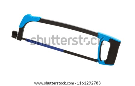 Hacksaw with black handle isolated on white. Hand saw. Hacksaw for metal.