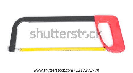 Hacksaw with red handle isolated on white