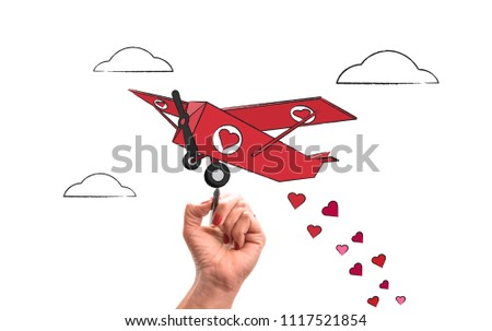 had draws Plane flying with hearts. Love and valentines day concept on white isolated background . #1117521854