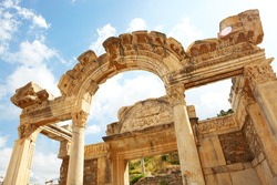 Hadians Temple in the old ruins of the city of Ephesus in modern day Turkey