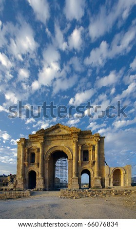 Hadrian's Arch, Jerash, Jordan. This is a triumphal arch built in AD 129 to commemorate the visit of the Emperor Hadrian to Jerash in Jordan.  Point of interest in Jordan.