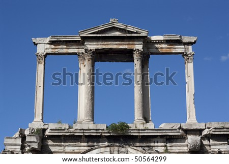 Hadrian's marble Arch (Pyli Adrianou) in Athens, Greece, erected by the emperor Hadrian in AD 131 to mark the division between the ancient Greek city and the modern Roman one.