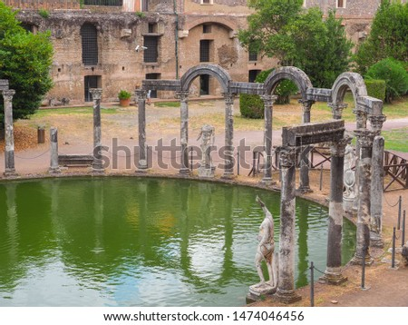 Hadrians villa or Villa Adriana is a wonderful open-air archaeological park at Tivoli, Italy, Lazio region, near the Rome. Canopo is canal-pool with ruined columns and sculptures on the curved side. #1474046456