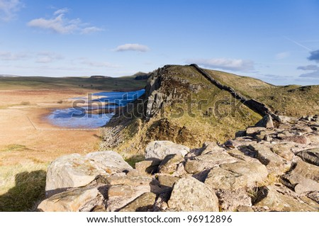 Hadrians Wall and Crag Lough / Hadrians Wall on the Whin Sill passing Crag Lough