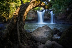 Haew suwat waterfall is one of the famous landmarks at Khao Yai National Park was probably the most popular waterfall