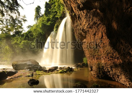 Haew Suwat Waterfall: One of Khao Yai's most visited waterfalls. Khao Yai National Park, Thailand (a UNESCO World Heritage Site).  stock photo
