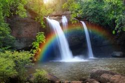 Haew Suwat Waterfall, the beautiful waterfall in rain forest with rainbow at Khao Yai National Park, Thailand