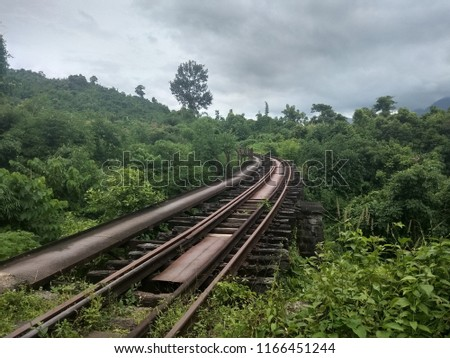 Haflong Hill, Dima Hasao, Assam/India- August 25, 2018: Heritage Railway Trail, Heritage Walk, Trekking along old abandoned meter gauge railway track made during British rule. Heritage Indian Railway.