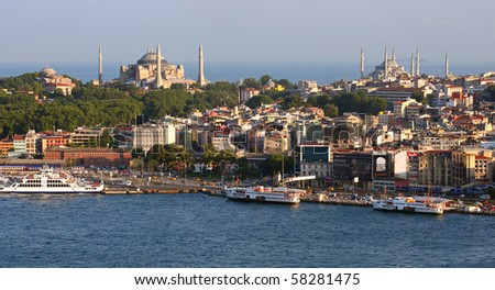 Hagia Sofia and Blue Mosque from Galata Tower - stock photo