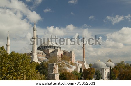 Hagia Sofia in Istanbul -  view from top. One of most famous mosque, also marked as one of Asian 7th wonders located in Istanbul, Turkey