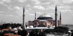 HAGIA SOFIA VIEW FROM ABOVE. ISTANBUL, TURKEY.
