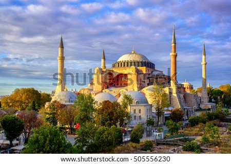 Hagia Sophia domes and minarets in the old town of Istanbul, Turkey, on sunset