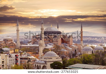 Hagia Sophia in Istanbul. The world famous monument of Byzantine architecture. View of the St. Sophia Cathedral at sunset. #277651025