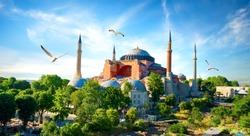 Hagia Sophia in summer Istanbul at sunny day, Turkey