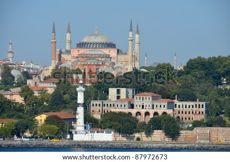 Hagia Sophia Museum on the hilltop above the Bosphorus River in Istanbul - stock photo