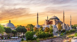 Hagia Sophia panoramic view at sunset, Istanbul, Turkey