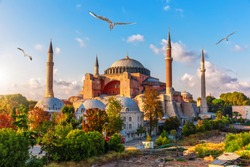 Hagia Sophia view, sunny day in Istanbul