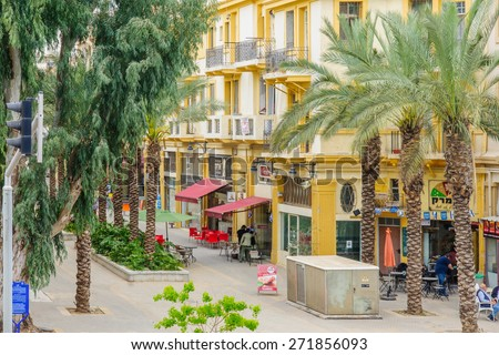 HAIFA, ISRAEL - APRIL 22, 2015: The renewed Turkish market in downtown Haifa, Israel. Its an old market-store from the 1920s