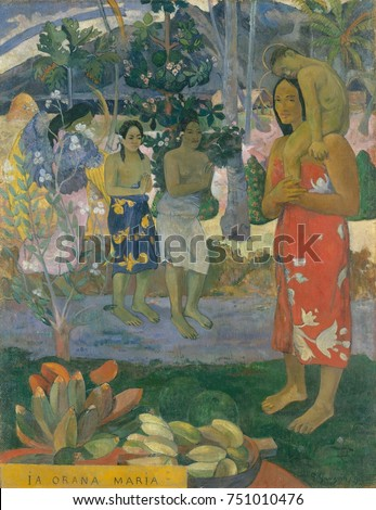 Hail Mary , by Paul Gauguin, 1891, French Post-Impressionist painting, oil on canvas. Gauguin devoted this first major Tahitian canvas, to a Christian theme, with an angel with yellow wings revealing