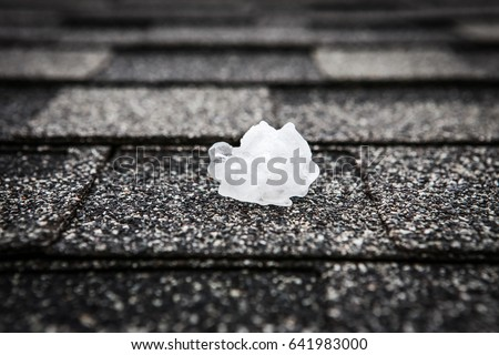 Hail on the roof after hailstorm
