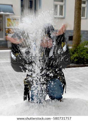 Hailstones falling on a person #580731757