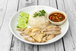 Hainanese chicken rice, or