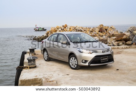 Haiphong, Vietnam - Oct 17, 2016: Toyota Vios 2016 car running on the test road drive in  Vietnam.